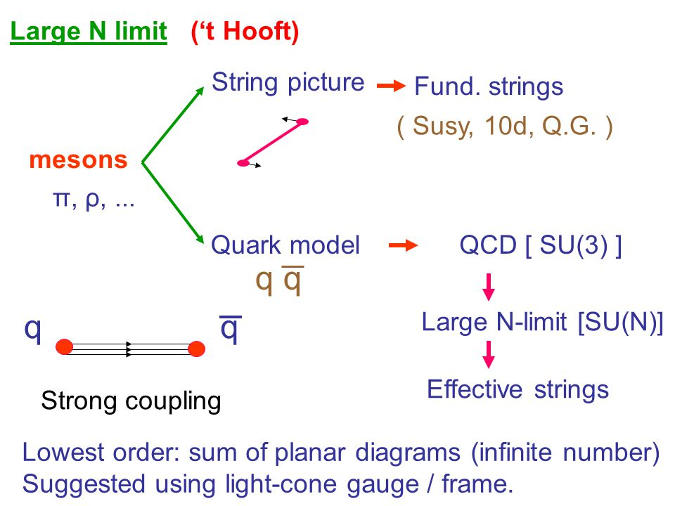 q q q q Large N limit ('t Hooft) String picture Fund. strings