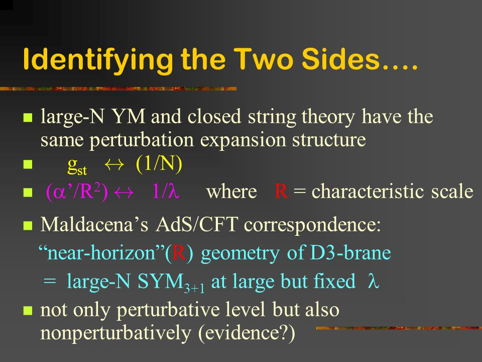 Identifying the Two Sides….