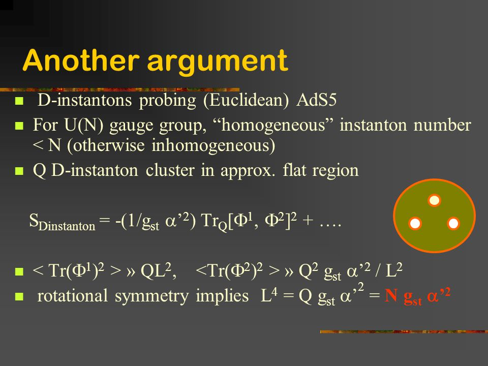 Another argument D-instantons probing (Euclidean) AdS5
