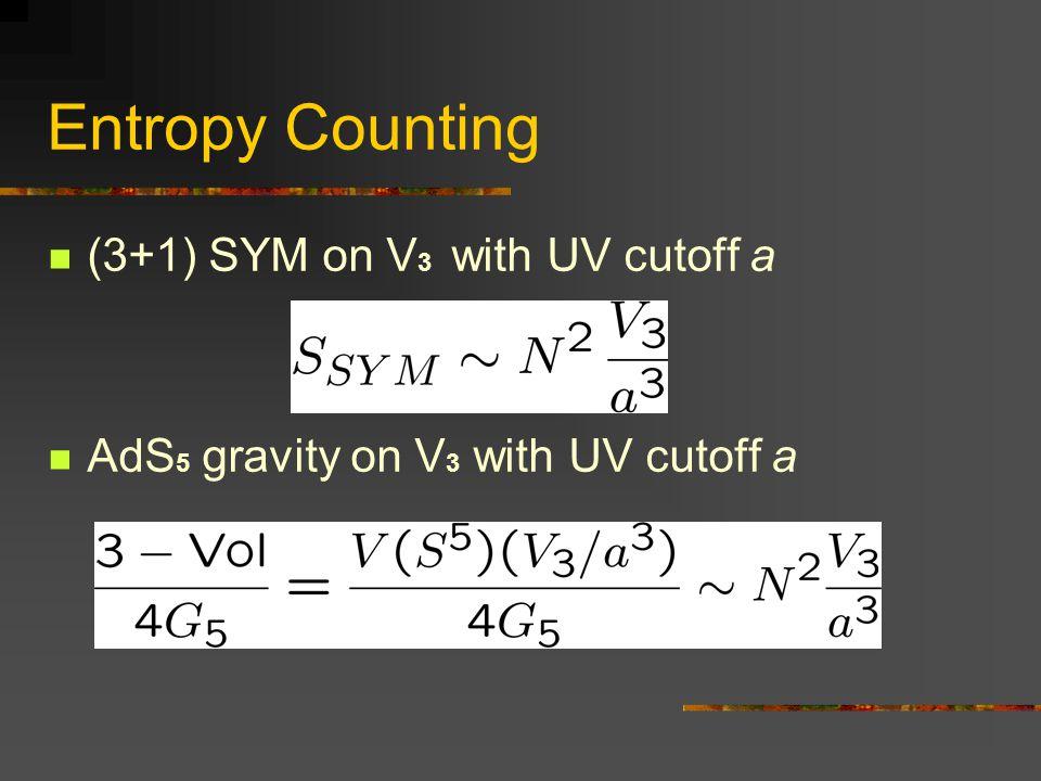 Entropy Counting (3+1) SYM on V3 with UV cutoff a