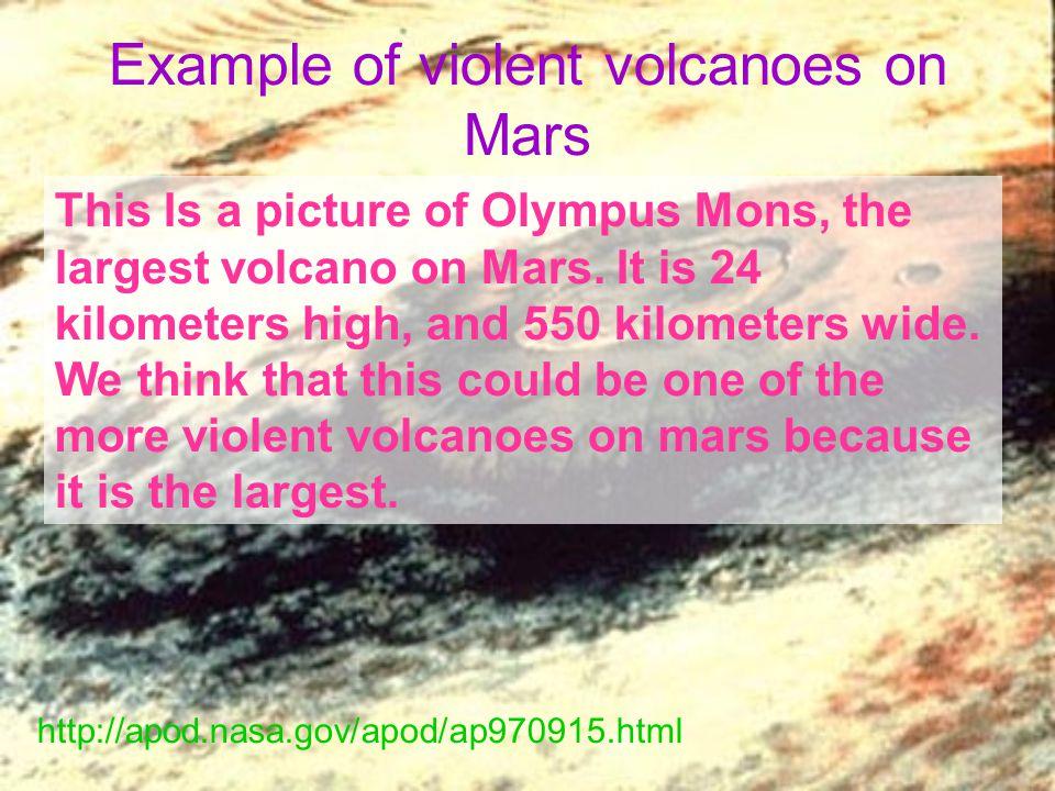 Example of violent volcanoes on Mars