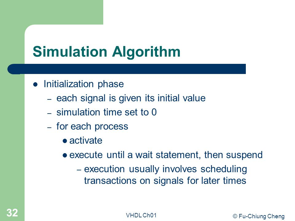 Simulation Algorithm Initialization phase