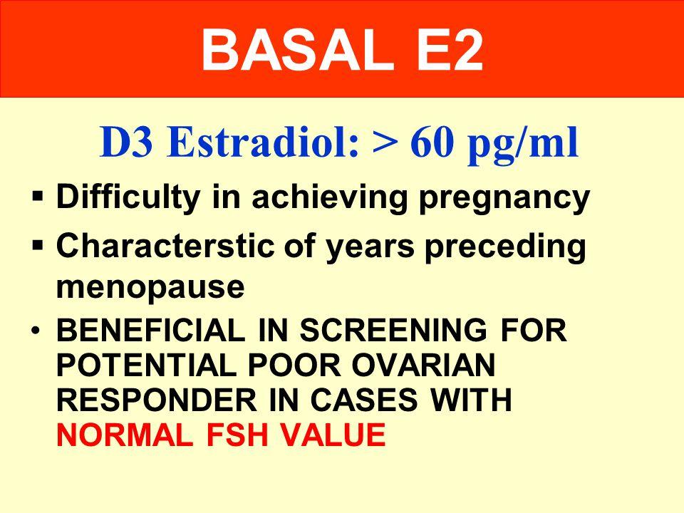 D3 Estradiol: > 60 pg/ml