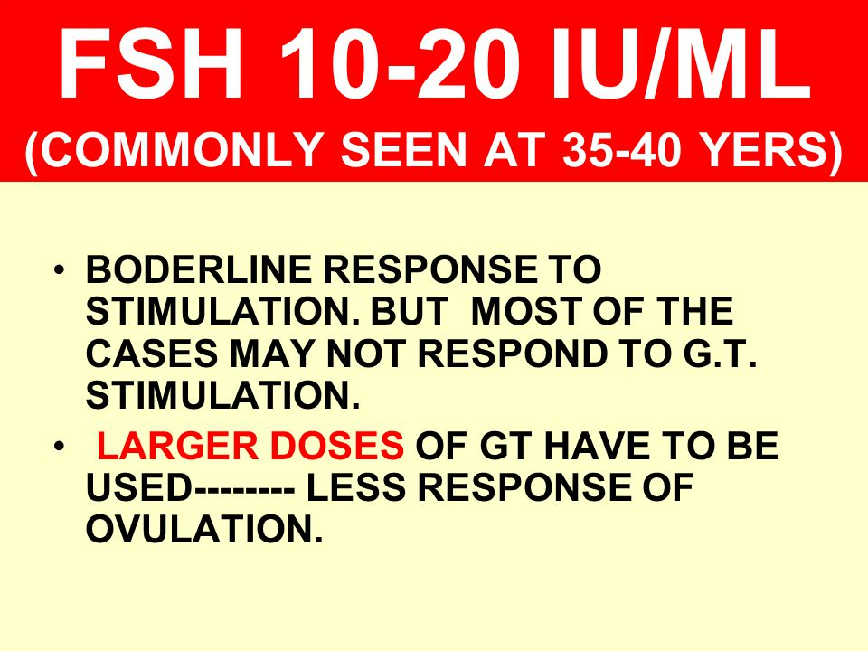 FSH 10-20 IU/ML (COMMONLY SEEN AT 35-40 YERS)