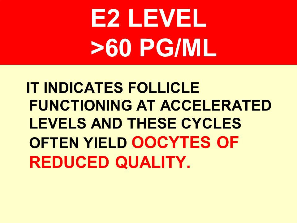 E2 LEVEL >60 PG/ML IT INDICATES FOLLICLE FUNCTIONING AT ACCELERATED LEVELS AND THESE CYCLES OFTEN YIELD OOCYTES OF REDUCED QUALITY.