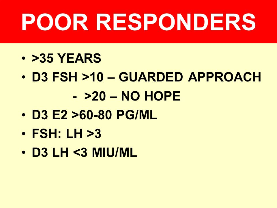 POOR RESPONDERS >35 YEARS D3 FSH >10 – GUARDED APPROACH