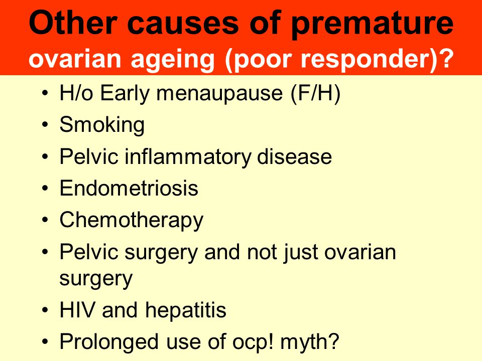 Other causes of premature ovarian ageing (poor responder)