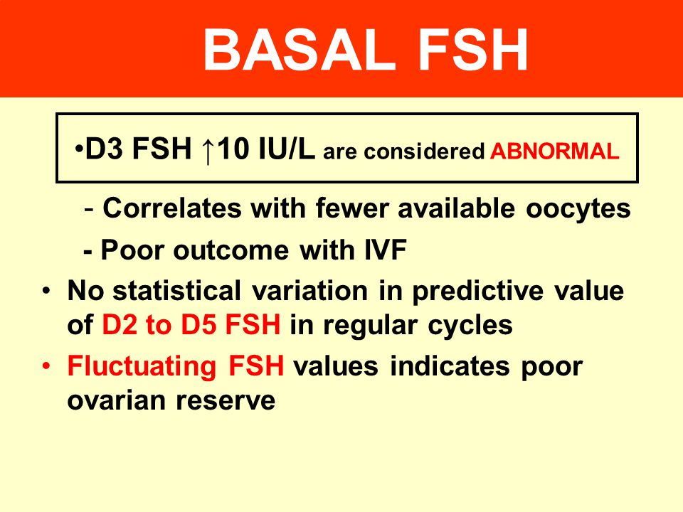 D3 FSH ↑10 IU/L are considered ABNORMAL