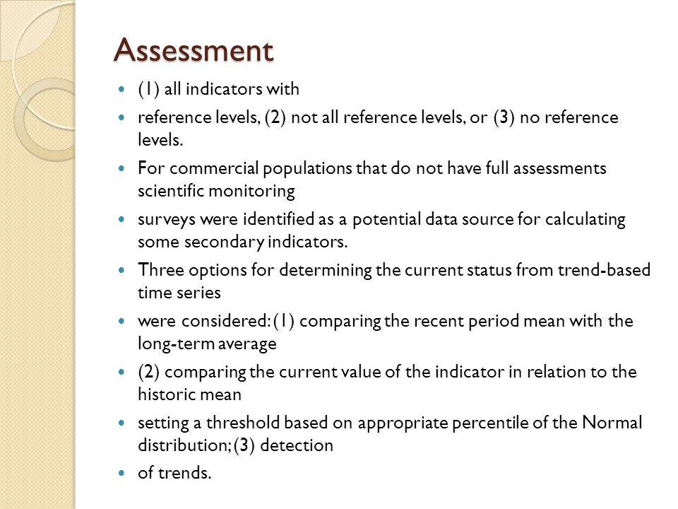 Assessment (1) all indicators with