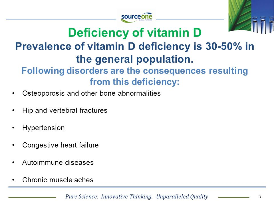 Deficiency of vitamin D Prevalence of vitamin D deficiency is 30-50% in the general population. Following disorders are the consequences resulting from this deficiency: