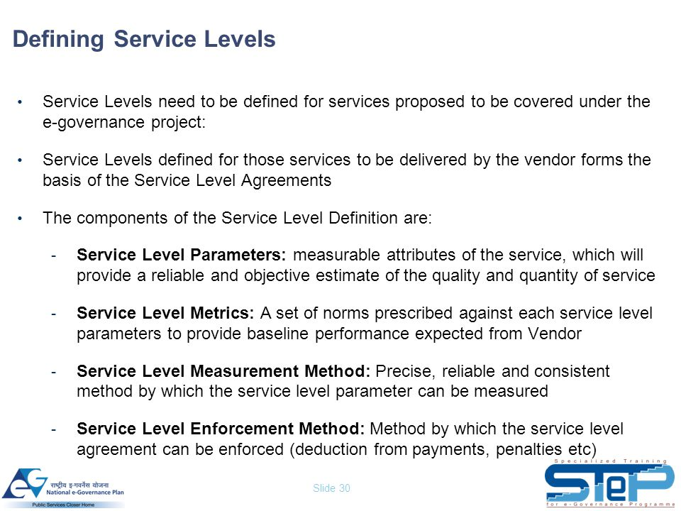 Defining Service Levels