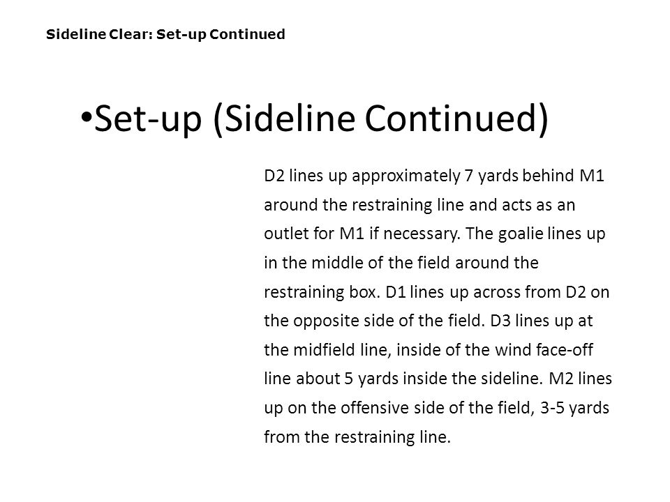Set-up (Sideline Continued)