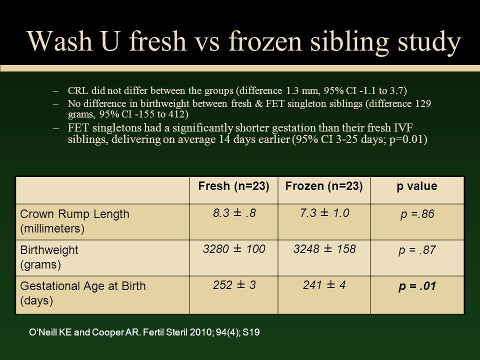 Wash U fresh vs frozen sibling study