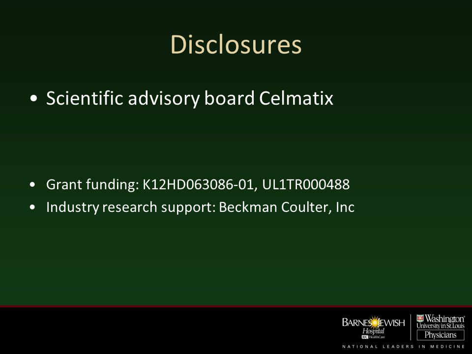 Disclosures Scientific advisory board Celmatix