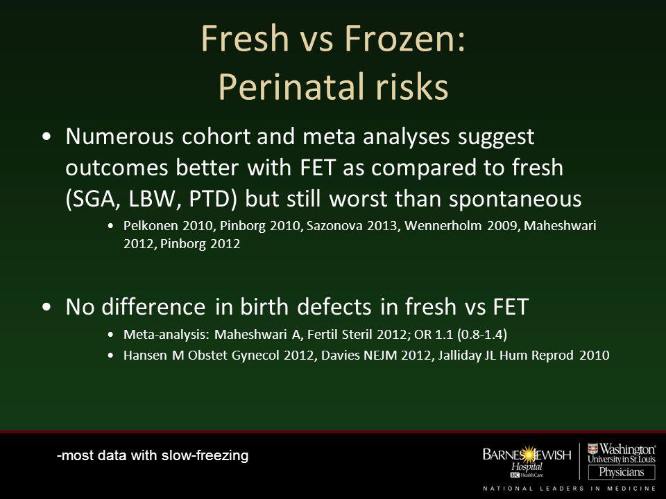 Fresh vs Frozen: Perinatal risks
