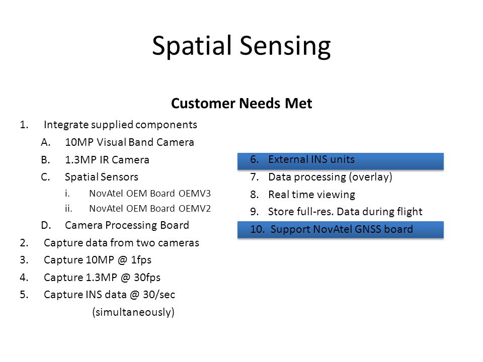 Spatial Sensing Customer Needs Met Integrate supplied components