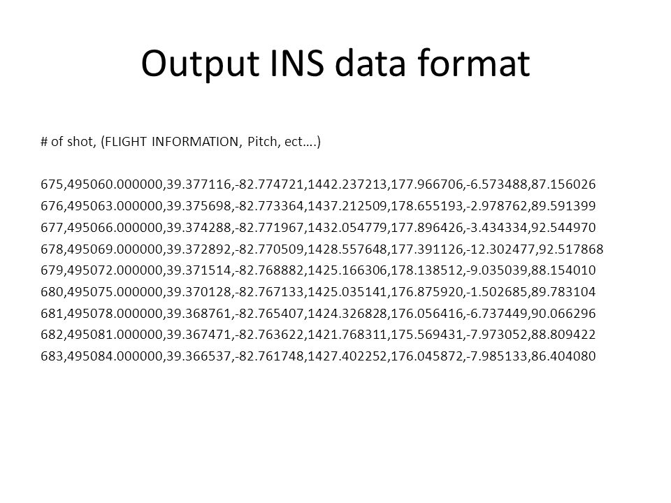 Output INS data format