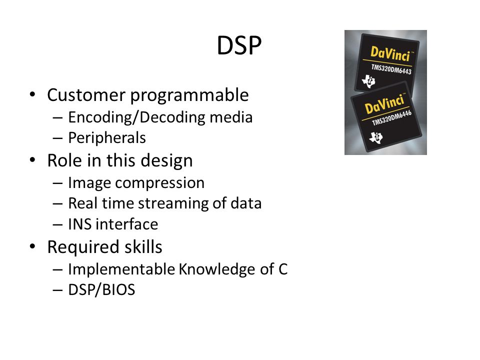 DSP Customer programmable Role in this design Required skills
