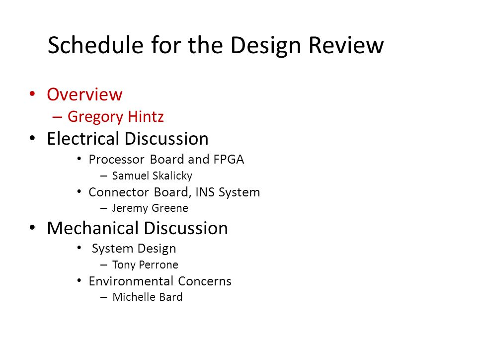 Schedule for the Design Review