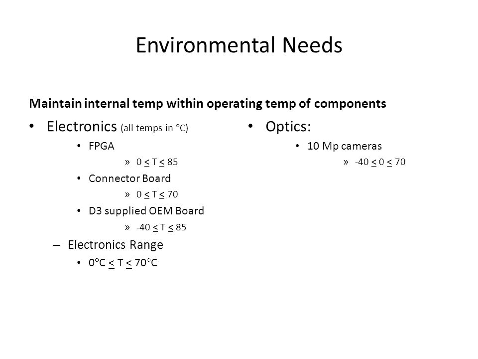 Environmental Needs Electronics (all temps in C) Optics: