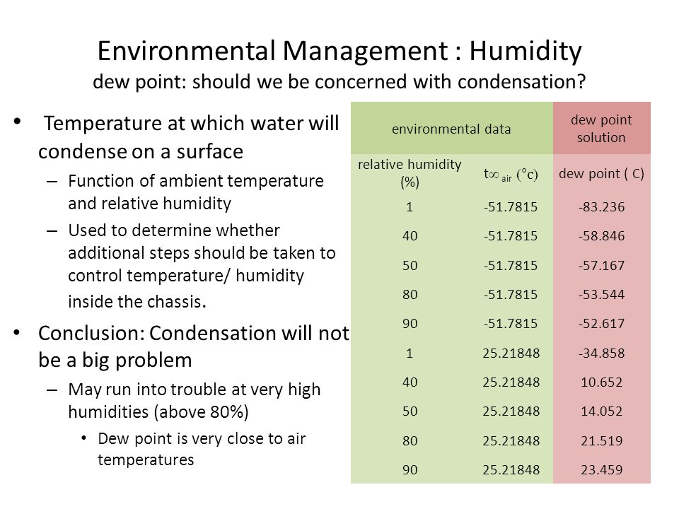 Environmental Management : Humidity dew point: should we be concerned with condensation