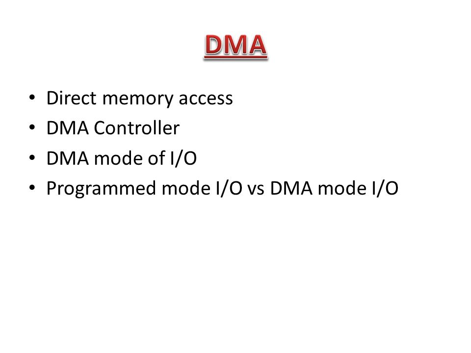 DMA Direct memory access DMA Controller DMA mode of I/O