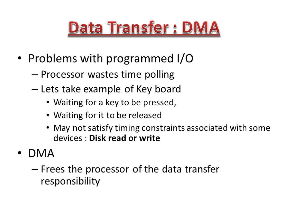 Data Transfer : DMA Problems with programmed I/O DMA