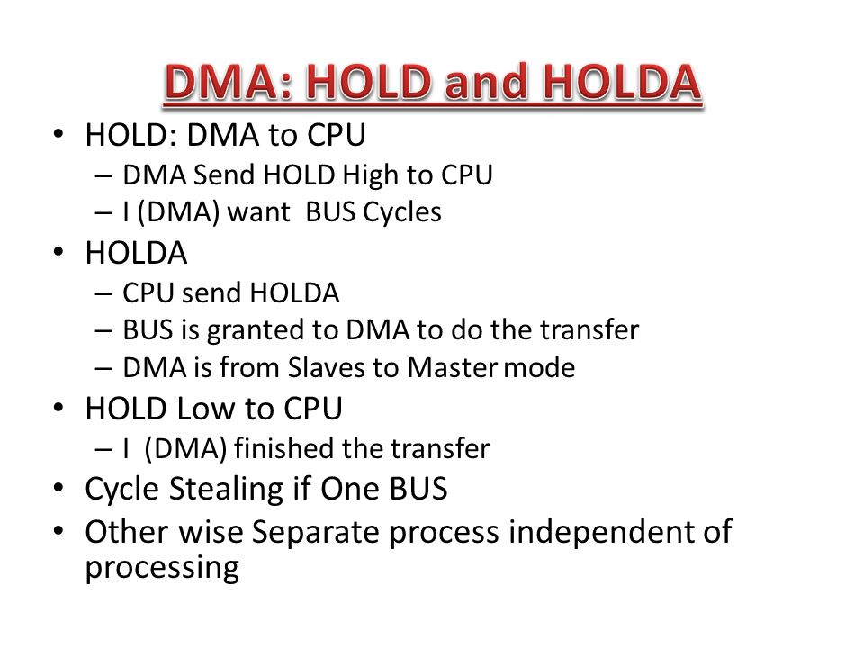 DMA: HOLD and HOLDA HOLD: DMA to CPU HOLDA HOLD Low to CPU