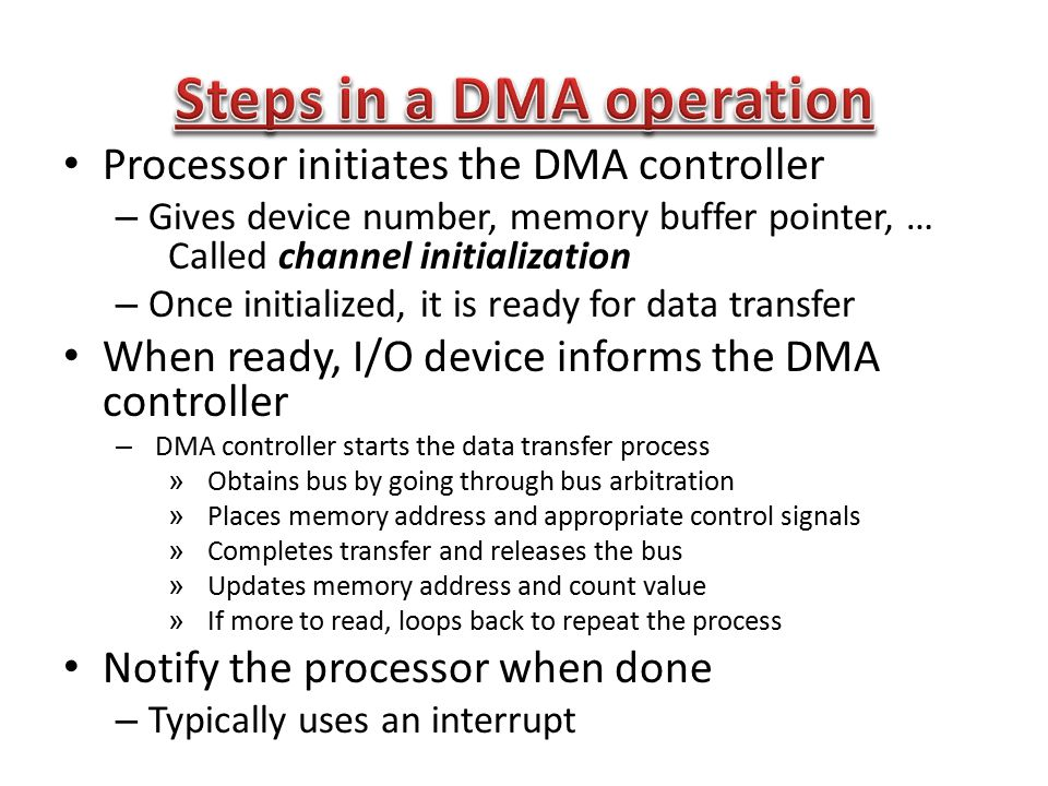 Steps in a DMA operation