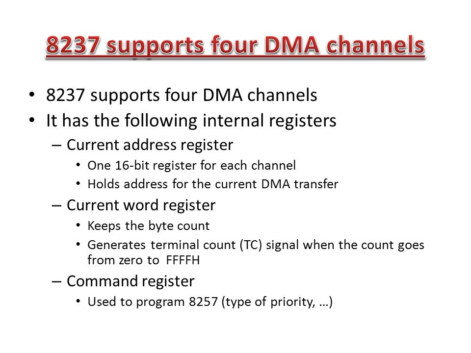 8237 supports four DMA channels