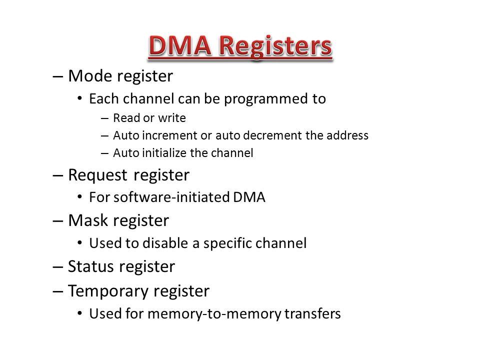 DMA Registers Mode register Request register Mask register