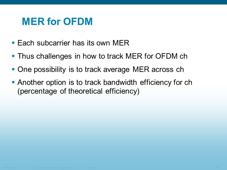 MER for OFDM Each subcarrier has its own MER
