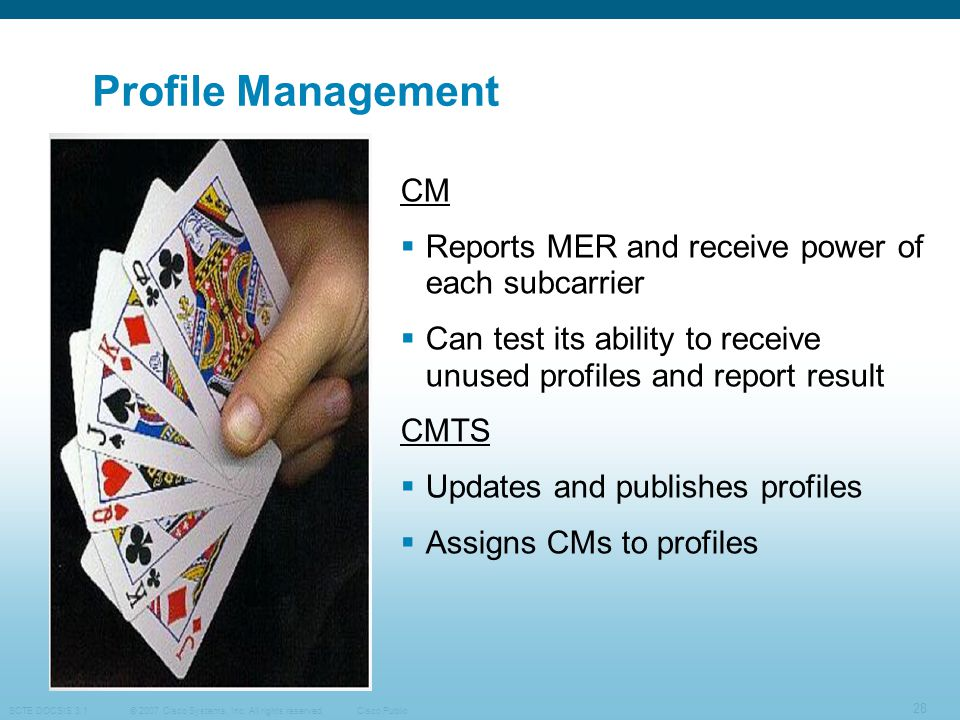 Profile Management CM Reports MER and receive power of each subcarrier