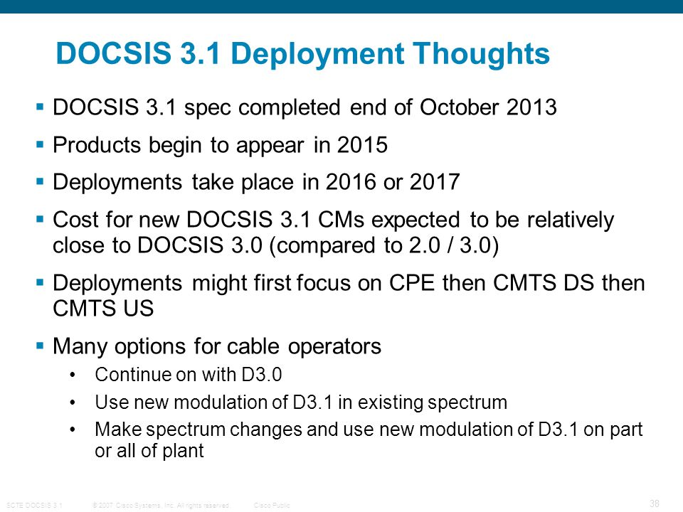 DOCSIS 3.1 Deployment Thoughts