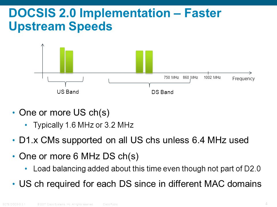 DOCSIS 2.0 Implementation – Faster Upstream Speeds