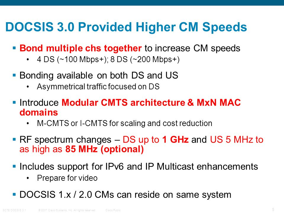 DOCSIS 3.0 Provided Higher CM Speeds