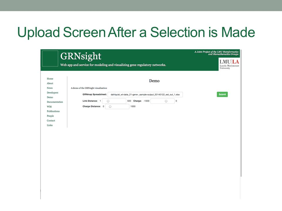 Upload Screen After a Selection is Made