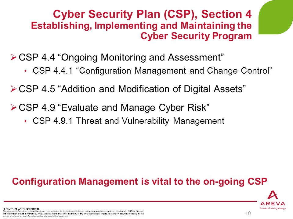 Cyber Security Plan (CSP), Section 4 Establishing, Implementing and Maintaining the Cyber Security Program