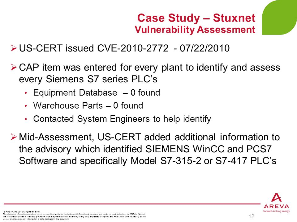 Case Study – Stuxnet Vulnerability Assessment