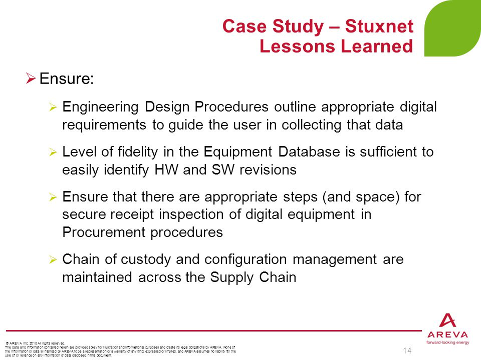 Case Study – Stuxnet Lessons Learned