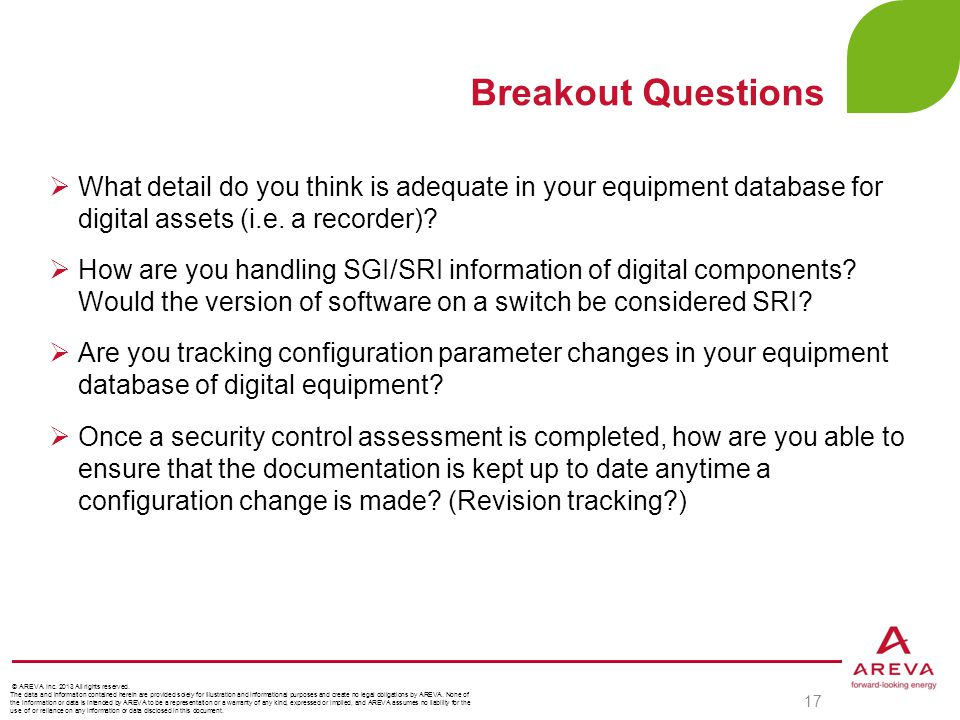 Breakout Questions What detail do you think is adequate in your equipment database for digital assets (i.e. a recorder)
