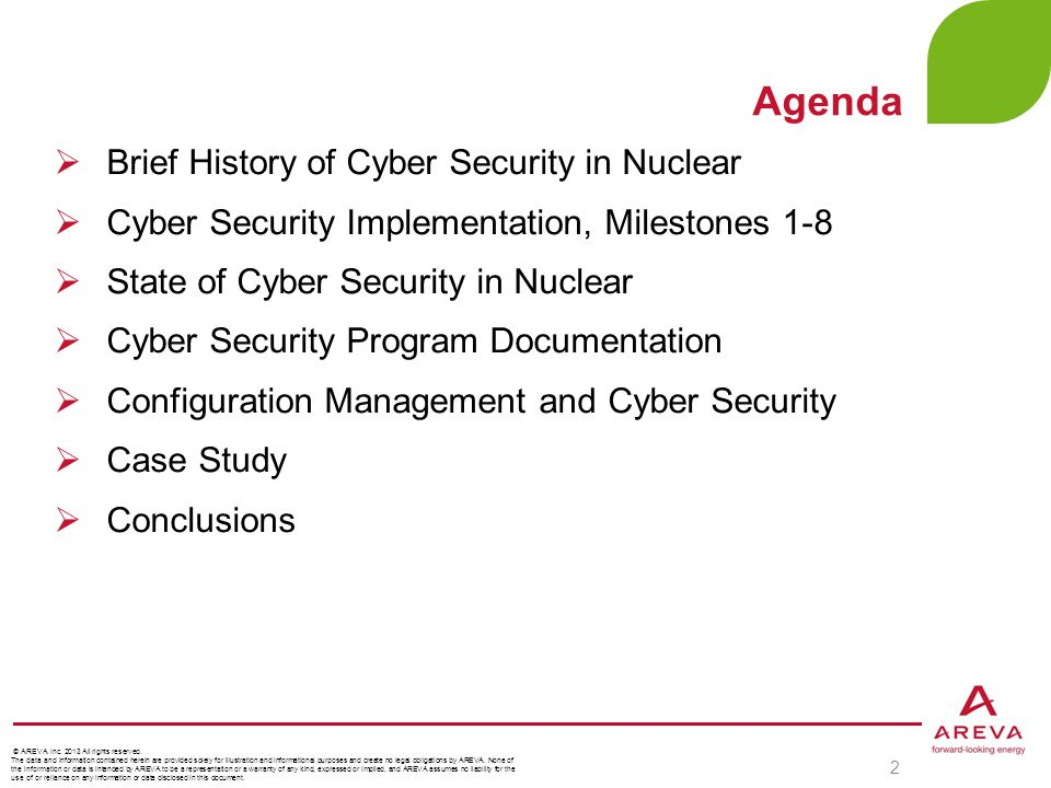 Agenda Brief History of Cyber Security in Nuclear