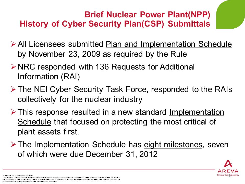 Brief Nuclear Power Plant(NPP) History of Cyber Security Plan(CSP) Submittals