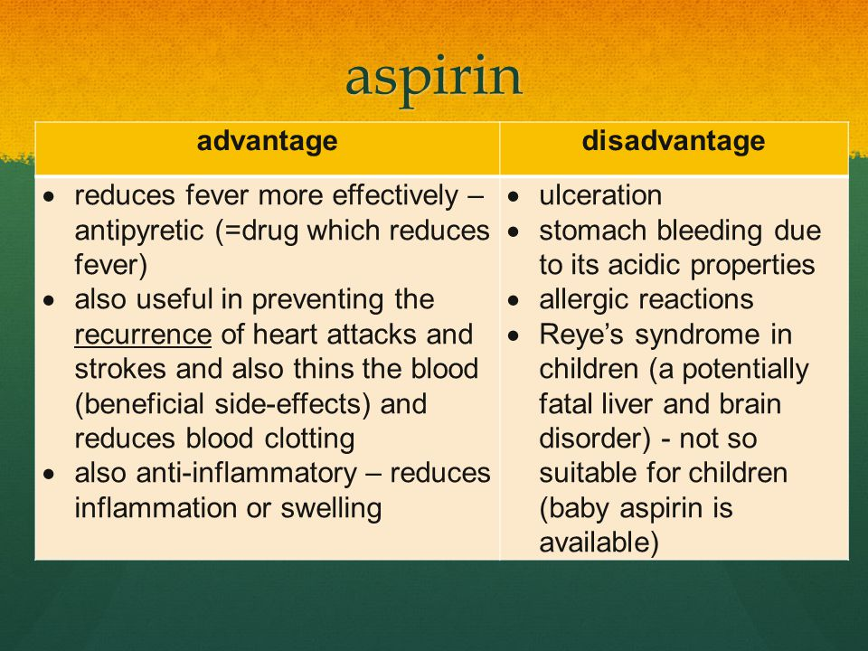 aspirin advantage disadvantage