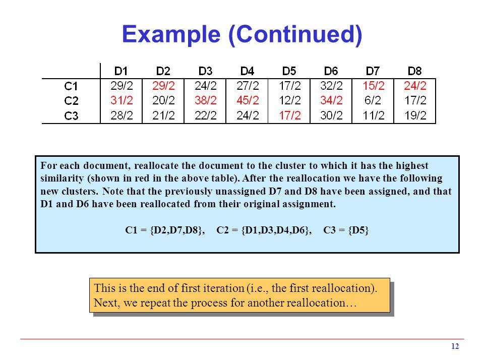 C1 = {D2,D7,D8}, C2 = {D1,D3,D4,D6}, C3 = {D5}