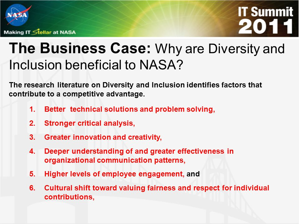 The Business Case: Why are Diversity and Inclusion beneficial to NASA