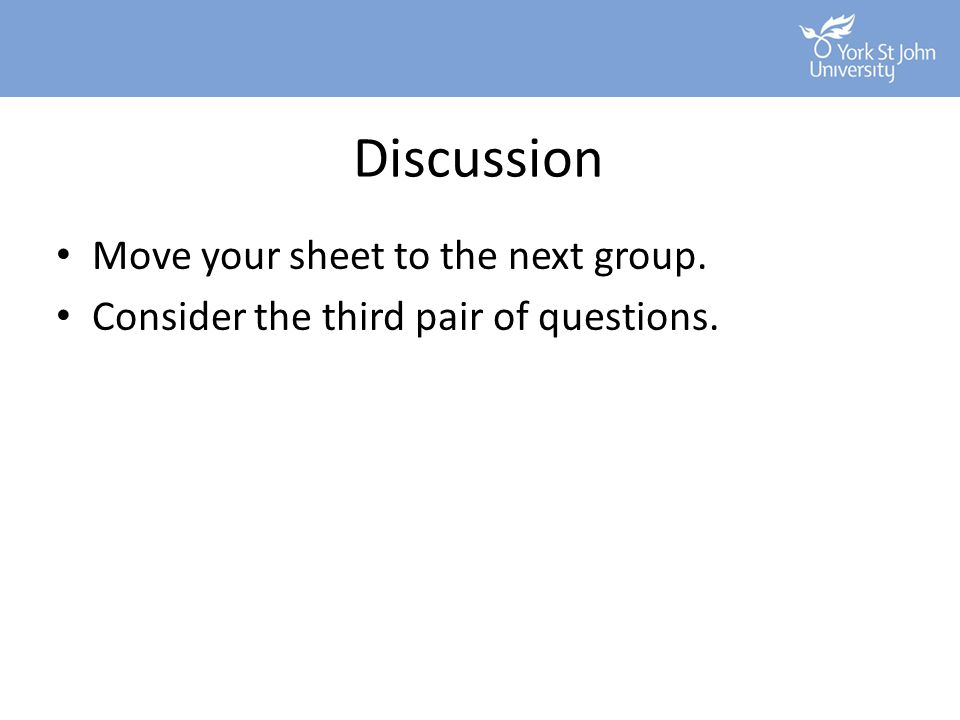 Discussion Move your sheet to the next group.
