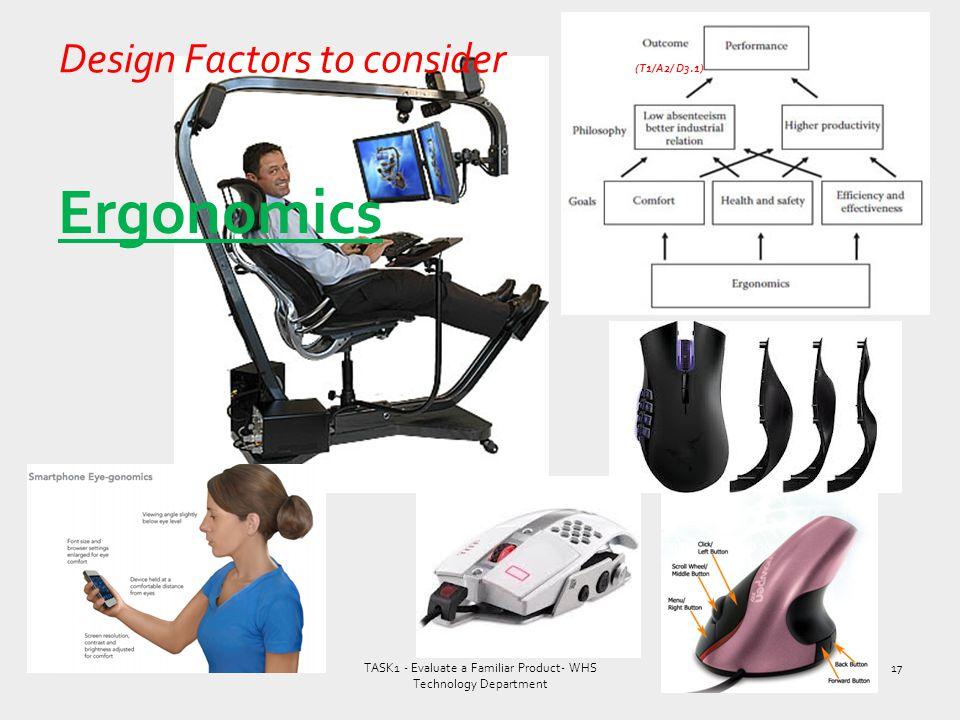 Design Factors to consider (T1/A2/ D3.1)