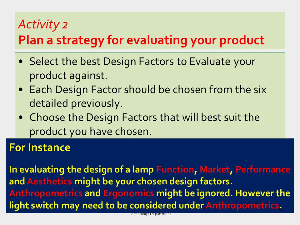 Activity 2 Plan a strategy for evaluating your product