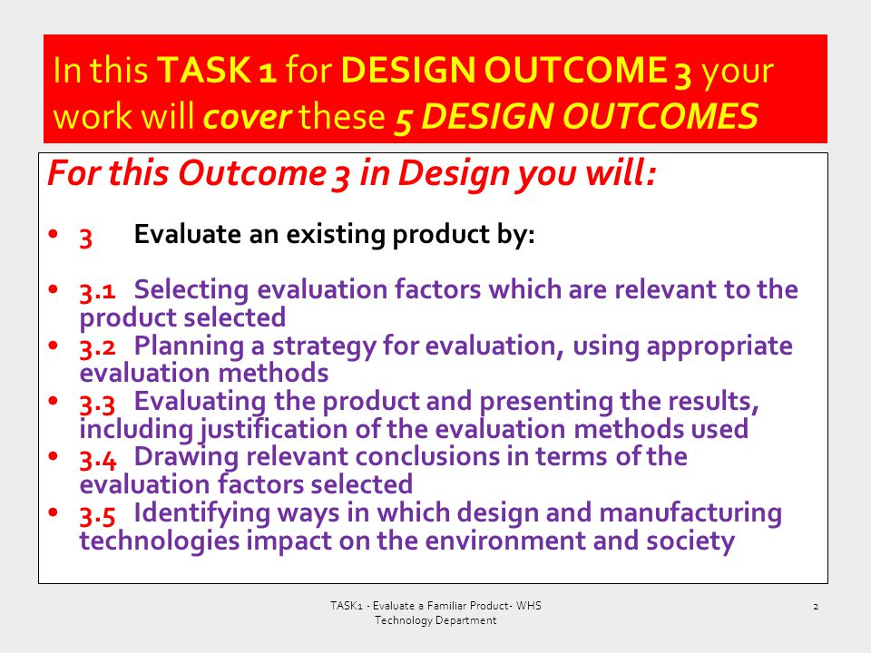 TASK1 - Evaluate a Familiar Product- WHS Technology Department